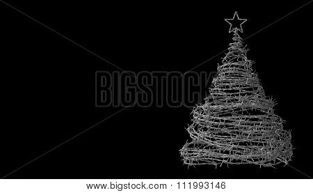 Christmas Tree Made From Barbed Wire On Black Background