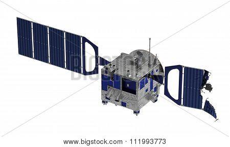 Crashed Satellite Over White Background