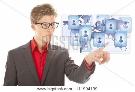Young Business Man Selecting Virtual Worldwide Friends Isolated On White Background