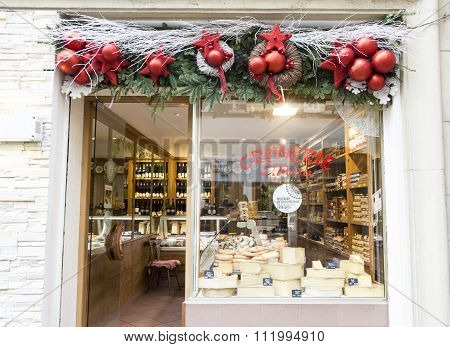 The Christmas Decoration Of Diary Shop In Strasbourg.