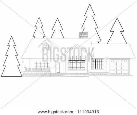 Thin line flat design. Country secluded house on a white background isolated in the forest for recre
