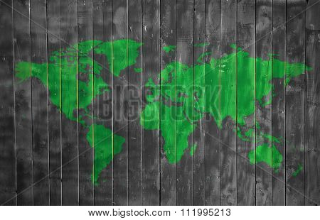 World Ecology Wooden Texture With Map