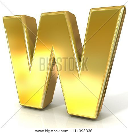 Golden font collection letter - W. 3D