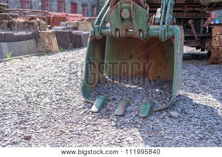 Rusty crane digger bucket