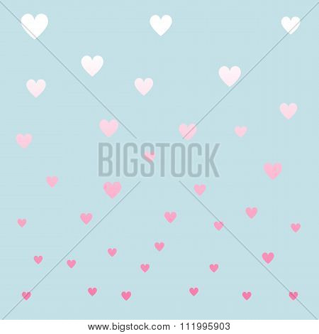 Pastel Color Hearths Pattern. Vector Illustration.