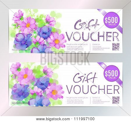 Gift voucher vector set beauty watercolor silver background. VIP backdrop pink flowers, for restaura