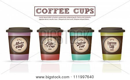 Collection Of Coffee Badges And Logo Design On Coffee Cup Vector Illustration