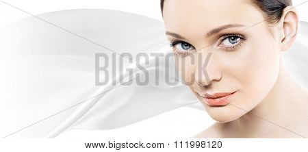 Beautiful young woman with perfect natural makeup look. Space for text. Banner.