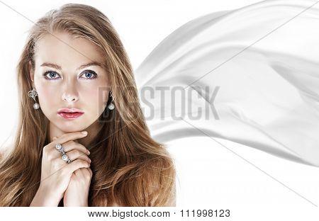 Beautiful woman with pearl jewellery