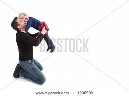 Father and daughter playing together