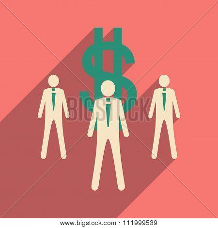 Flat design modern vector illustration icon Stick Figure money