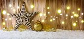 Постер, плакат: Christmas background with decorative star Christmas balls and light