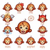 Постер, плакат: Set Of Emoticons Funny Monkey Smile Kiss Wink Sad Evil Cry Laugh Teases Shy Surprised Ang