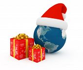 picture of world-globe  - Worldwide Merry Christmas celebration concept with earth and gift boxes - JPG