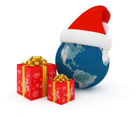 pic of world-globe  - Worldwide Merry Christmas celebration concept with earth and gift boxes - JPG