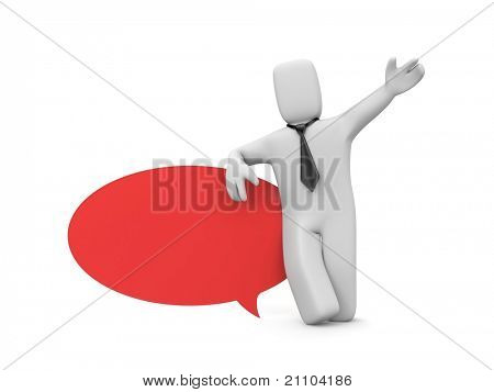 Person with speech bubble. Image contain clipping path