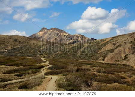 View of Mountain Hike Across Tundra