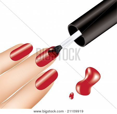 Woman Applying Red Nail Polish On Fingers
