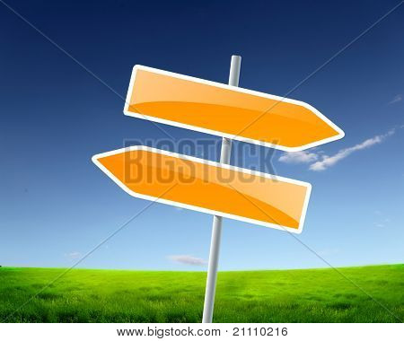 two road signs against blue skies on the background