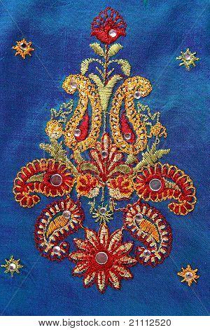 Close Up Of An Indian Saree Design.