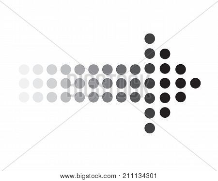 poster of dots arrow icon on white background. dots arrow sign. black dots arrow symbol.