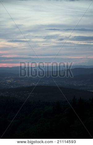 Landscape Seen From Uetliberg, Zurich In The Evening
