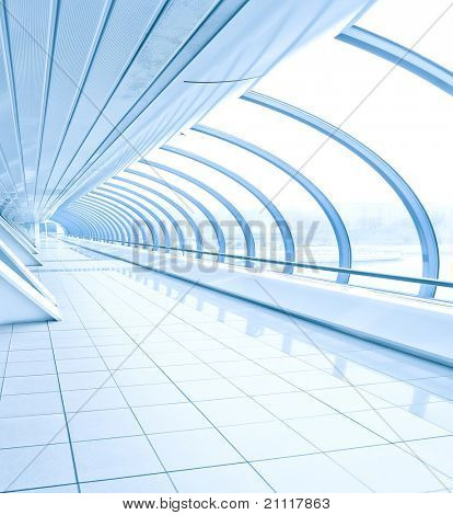 blue vanishing transparent hallway inside contemporary airport, transportation background