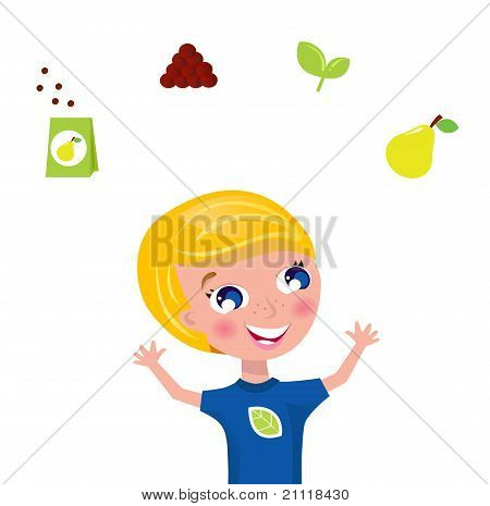 Cute Gardener Jugglery - Green Plant And Fruit Icons & Elements.