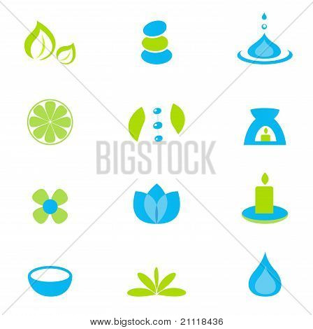 Wellness Zen Natural And Spa Icons And Elements - Green & Blue.