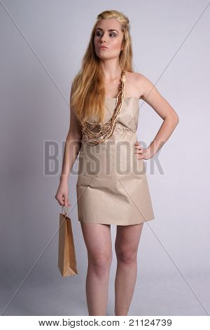 Confident woman wearing eco style clothes