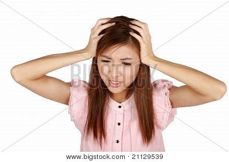 Young Asian Woman Having A Headache.