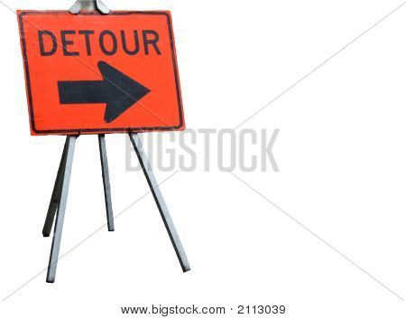 Detour Sign For Construction, Isolated