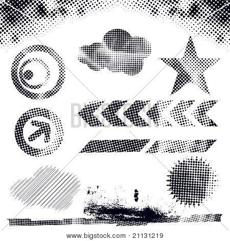 Grunge Dots Elements