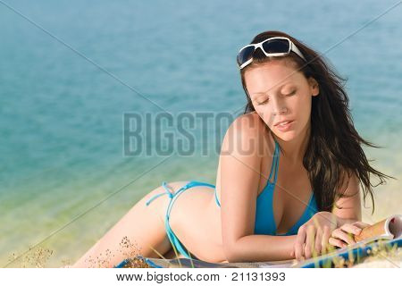 Summer Beach Woman In Blue Bikini