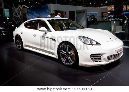 Moscow, Russia - August 25: White Sport Car Porsche  Turbo  At Moscow International Exhibition Inter
