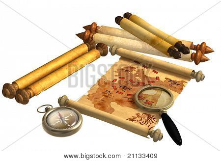 A way to treasure. Pirate map, scrolls, compass and loupe. Objects isolated over white