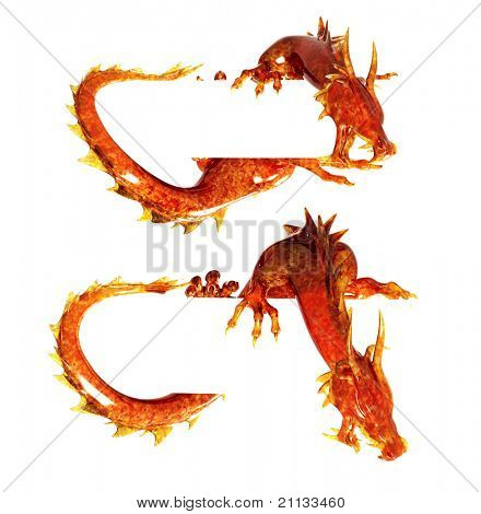 Set - two statues dragons of jasper. Isolated over white