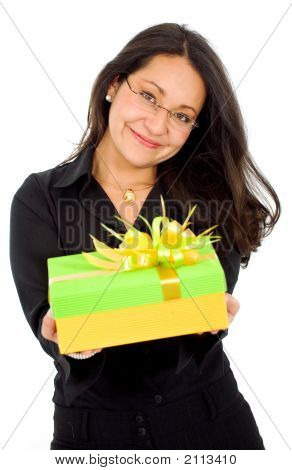 Business Woman With A Gift