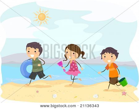 Illustration of Kids Running on the Beach