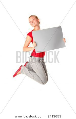 Woman Jumping With Blank Sign