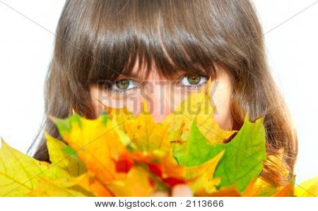 Girl With Maple Leaves