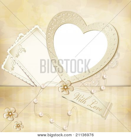 Vector Vintage, Grunge Background With Frame For Photos In The Form Of Heart