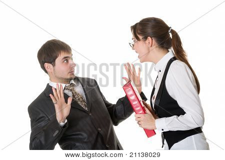 Business Woman Shouting At The Staff Isolated On White.