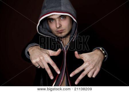 Attractive Young Guy Rap Dj Focus On Hands