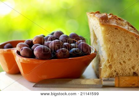 Portuguese Olives And Bread.