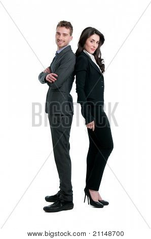Smiling business couple standing together isolated on white background