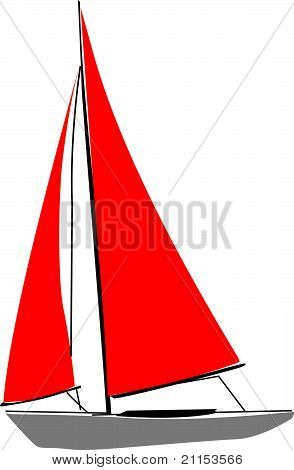 Red sailboat.