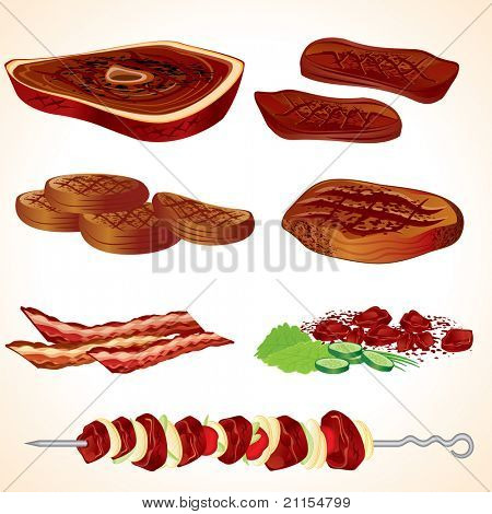 Vector Illustration of Grilled Meat, Bacon, Burgers,Steaks, Kebabs...