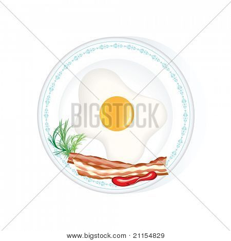 Fried Egg with bacon and fennel on white plate