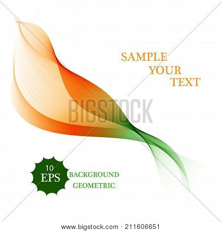 poster of Abstract color wave design element. Orange and green wave. Abstract green wavy lines. Transparent green wave lines.